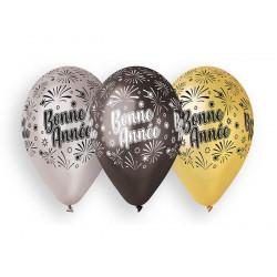 Sachet 10 ballons 30 cm métallisés Bonne Année Déco festive BA21580