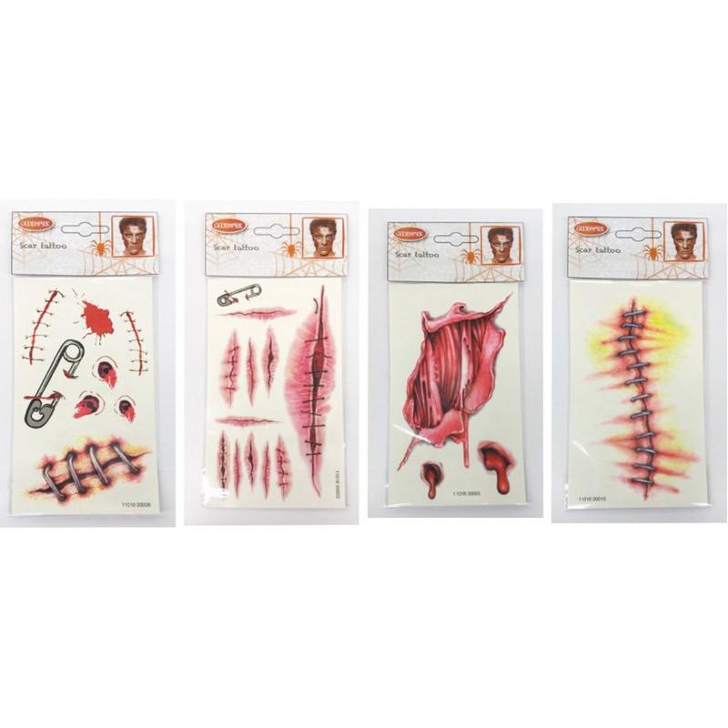 Tatouage temporaire cicatrices Halloween Accessoires de fête 631400