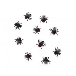 Lot 24 mouches plastique noir Déco festive 11174