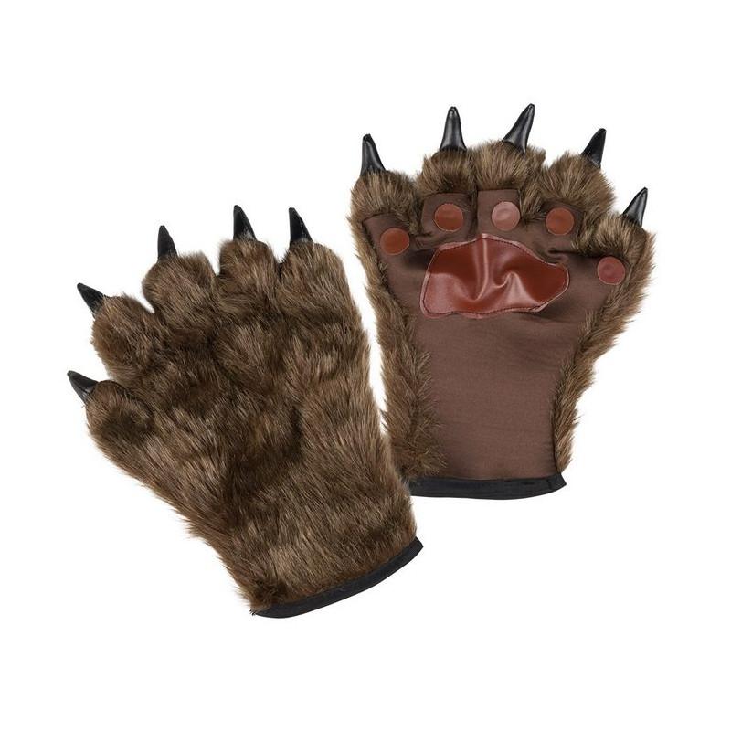 Paire gants loup garou marron adulte Accessoires de fête 00829