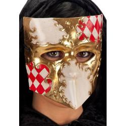 Masque vénitien bauta or rouge et blanc Accessoires de fête 00654