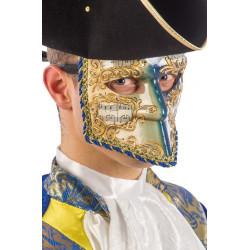 Masque vénitien Bauta avec motifs bleus et notes musique Accessoires de fête 01321