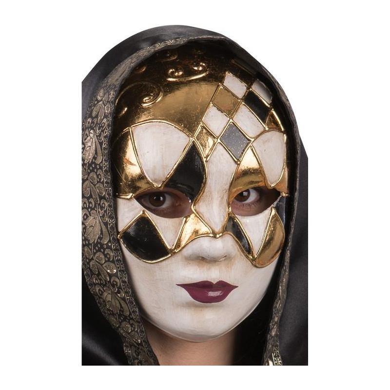 Masque vénitien à losanges or et noir Accessoires de fête 00670