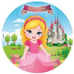 Disque en sucre Princesses™ 16 cm Déco festive 231134