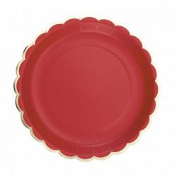 Assiettes carton festonnées rouges et or 23 cm x 8 Déco festive 91322