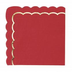 Serviettes papier festonnées rouges et or x 16 Déco festive 91362