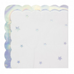 Serviettes papier festonnées irisées x 16 Déco festive 91360