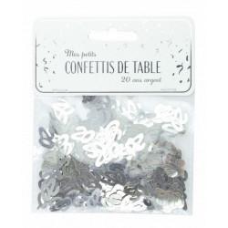 Confettis de table argent anniversaire chiffre 20 Déco festive 913320S