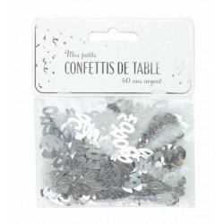 Confettis de table argent anniversaire chiffre 40 Déco festive 913340S