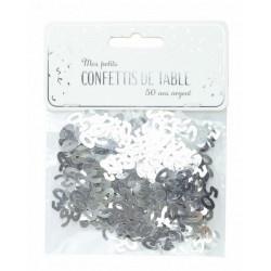 Confettis de table argent anniversaire chiffre 50 Déco festive 913350S