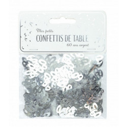 Confettis de table argent anniversaire chiffre 60 Déco festive 913360S