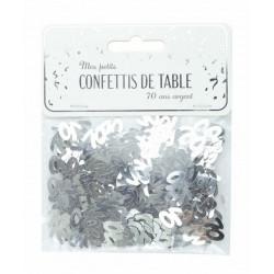 Confettis de table argent anniversaire chiffre 70 Déco festive 913370S