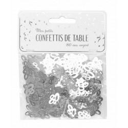 Confettis de table argent anniversaire chiffre 80 Déco festive 913380S