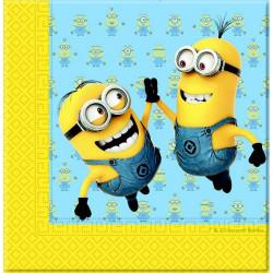 Serviettes papier x 20 Lovely Minions™ 33x33cm Déco festive LMIO87178