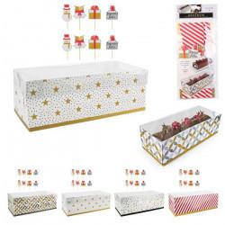Boîte à bûche carton 26 cm avec 8 pics Cake Design KP5478