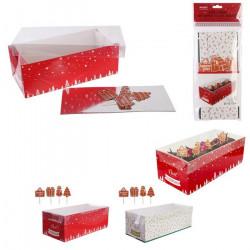Boîte à bûche Noël 26 cm avec 4 pics décoration Cake Design KP5504