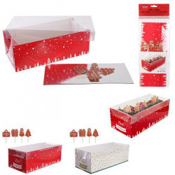 Boîte à bûche Noël 30 cm avec 4 pics décoration Cake Design KP5505