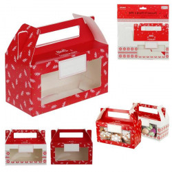 Boite biscuits Noël avec fenêtre 14 x 12 cm Cake Design KP5501