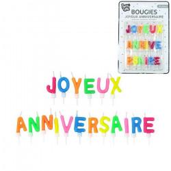 Bougies Joyeux Anniversaire lettres x 18 Déco festive BO2024