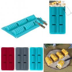 Moule mini bûches silicone x 6 et emporte-pièce Cake Design KP5338