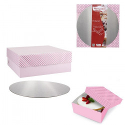 Boîte à gâteau carton coloré avec support 25 cm Cake Design KP5236ARM