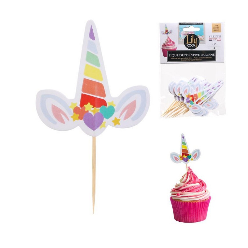 Piques apéro ou pâtisserie Licorne x 15 Cake Design KP5547