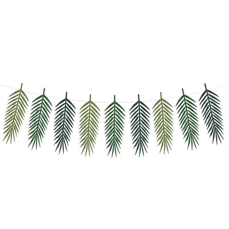 Guirlande feuilles tropicales Aloha 1m25 Déco festive GLP1