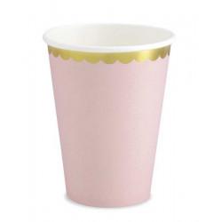 Gobelets x 6 carton rose pâle avec feston doré 22 cl Déco festive KPP16-081J