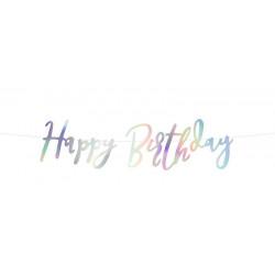 Bannière Happy Birthday irisée 62 cm Déco festive GRL75-017