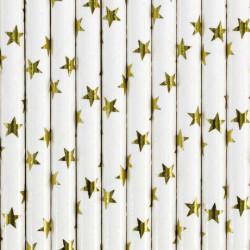 Pailles blanches étoiles or 19.5 cm x 10 pcs Déco festive SPP5M-019