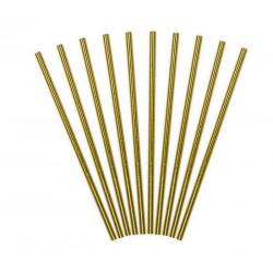 Pailles papier métallisé doré 19.5 cm x 10 pcs Déco festive SPP4M-019