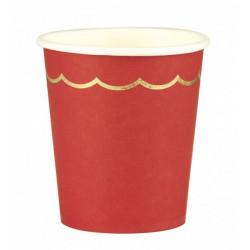 Gobelets carton festonnés rouges et or x 8 Déco festive 91342
