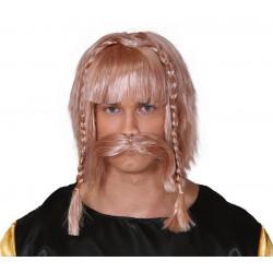 Perruque et moustache blondes viking Accessoires de fête 4414GUIRCA