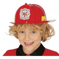 Casque pompier rouge enfant Accessoires de fête 13366