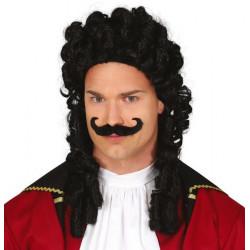 Perruque et moustache noires capitaine Pirate Accessoires de fête 4664