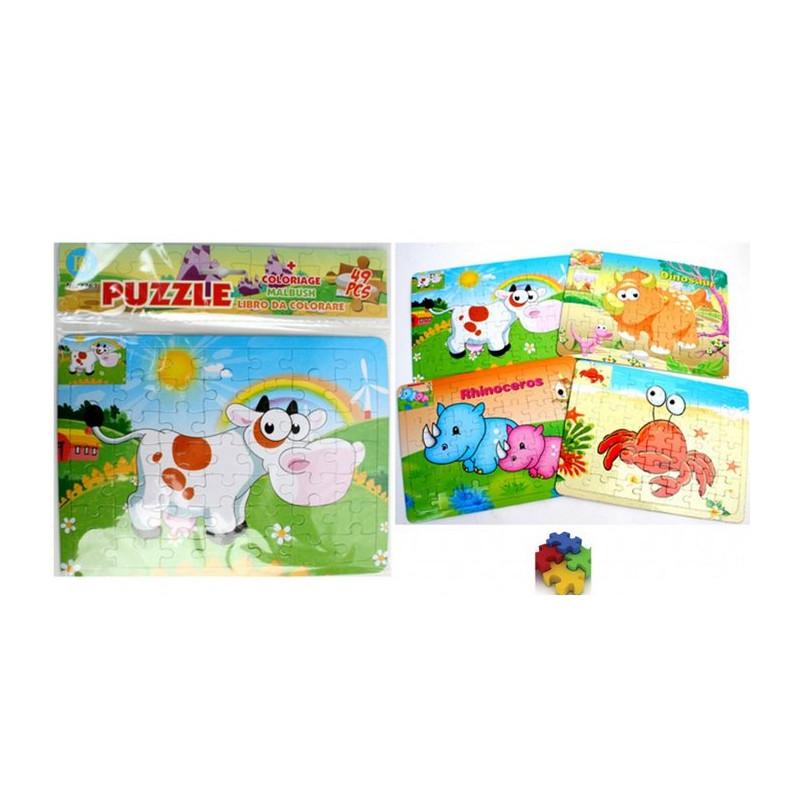 Puzzle 49 pièces motif animaux vendu par 24 Jouets et articles kermesse 24263-LOT