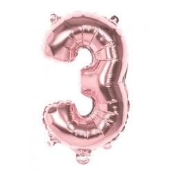 Ballon aluminium rose gold 36 cm chiffre 3 Déco festive 21993