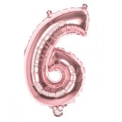 Ballon aluminium rose or 36 cm chiffre 6 Déco festive 21996