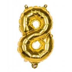 Ballon aluminium Or 36 cm chiffre 8 Déco festive 22008BO