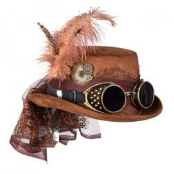 Chapeau steampunk luxe femme avec lunettes et plume Accessoires de fête 54562