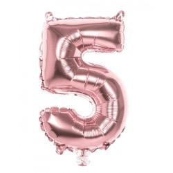 Ballon aluminium rose or 36 cm chiffre 5 Déco festive 21995