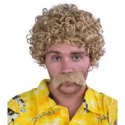 Perruque frisée blonde et moustache Accessoires de fête 81186CLOWN