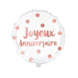 Ballon métallisé Joyeux Anniversaire rose gold 35 cm Déco festive CD4668