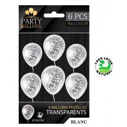 Sachet 6 ballons latex avec confettis blanc 30 cm Déco festive CD5192-BLA