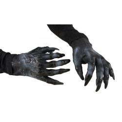 Paire de gants mains de monstre PVC noir adulte Accessoires de fête 10196