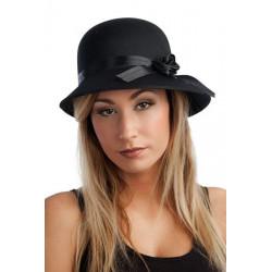 Chapeau cloche charleston satiné noir adulte Accessoires de fête 21384