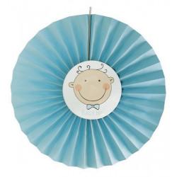 Rosace papier bleu pastel bébé 40 cm Déco festive 15281CLOWN