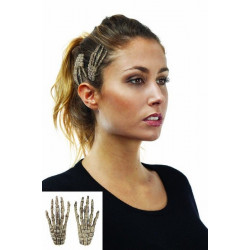 Barrettes cheveux main de squelette Accessoires de fête 53840