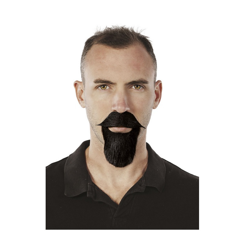 Moustache et barbichette noires mousquetaire Accessoires de fête 89218