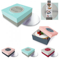 Boîte à gâteau carton coloré avec support 25 cm 3 coloris Cake Design KP52361